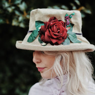 Summer Rose (MB) Linen - Vintage Red Rose, Direct from the designer, Peak and Brim Designer Hats, Direct from the designer, Peak and Brim Designer Hats