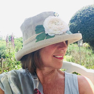 Summer Rose (MB) Linen - Vintage White Flower, Direct from the designer, Peak and Brim Designer Hats, Direct from the designer, Peak and Brim Designer Hats