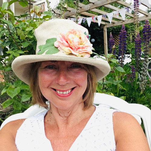 Summer Rose (SB) Linen - Vintage Peachy Pink Flower, Direct from the designer, Peak and Brim Designer Hats, Direct from the designer, Peak and Brim Designer Hats