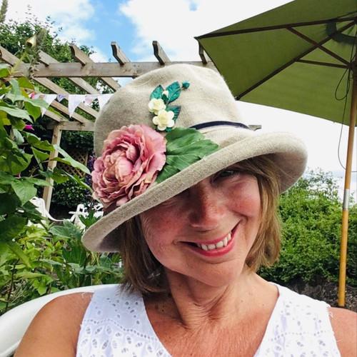 Summer Rose (SB) Linen – Vintage Purple Flower, Direct from the designer, Peak and Brim Designer Hats, Direct from the designer, Peak and Brim Designer Hats