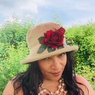 Summer Rose (SB) Linen - Vintage Red Ros, Direct from the designer, Peak and Brim Designer Hats, Direct from the designer, Peak and Brim Designer Hats