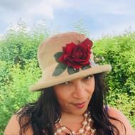 Summer Rose (SB) Cotton – Vintage Red Rose , Direct from the designer, Peak and Brim Designer Hats, Direct from the designer, Peak and Brim Designer Hats