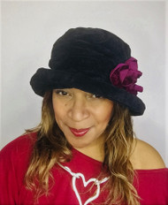 Antoinette (Black & Burgundy), direct from the designer Peak and Brim Hats
