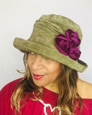 Antoinette (Olive & Burgundy), direct from the designer Peak and Brim Hats