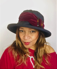 Alice Large Brim (Black & Burgundy), direct from the designer Peak and Brim Hats