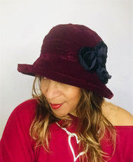 Antoinette (Burgundy & Black), direct from the designer Peak and Brim Hats