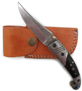 "Damascus Linerlock Folder w/ Horn Handle. 7 1/2"" overall. 3 3/8"" damascus blade. Partial damascus and black horn handle. Includes light brown leather sheath."
