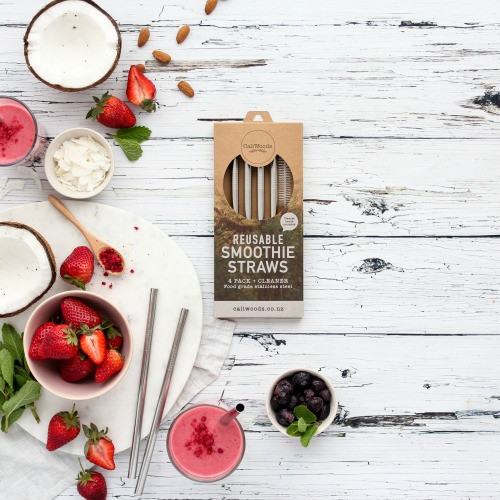 CaliWood Stainless Steel Straws 4pk - Smoothie or Bent