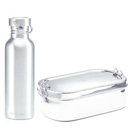 Large Stainless Steel Oval Lunchbox + Drink Bottle