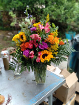 Fun in the Fall , Mix of Sunflowers, Daises, Mums and Fall accents and greenery
