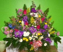 The Bloom Closet's Assorted Flower Bright mix Basket