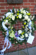 The Bloom Closet's Green and White Sympathy Wreath
