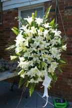All White Mountain Lily Sympathy Spray The Bloom Closet Florist in Evans, GA