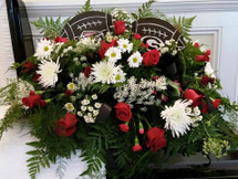 Atlanta Falcons and University of Georgia Fan Casket Spray by The Bloom Closet Florist.