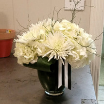Who needs Roses? Hydrangeas and Fuji mums are great! !!