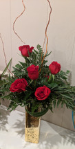 Touch of Gold Red Roses by THe Bloom Closet Florist in Martinez, GA