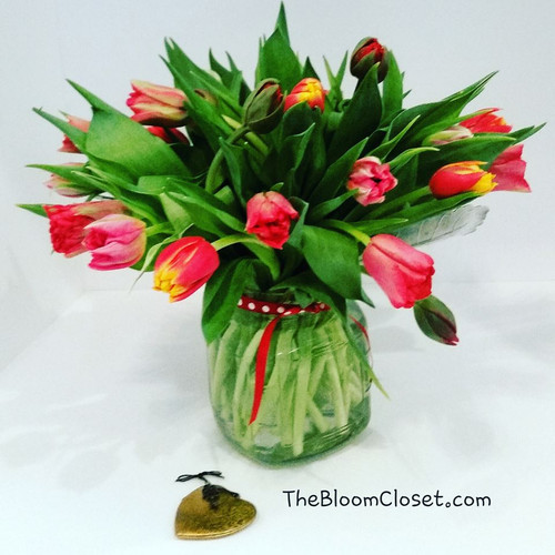 Twenty Tulips for your beloved! Not the tallest vase, but the fullest for sure!