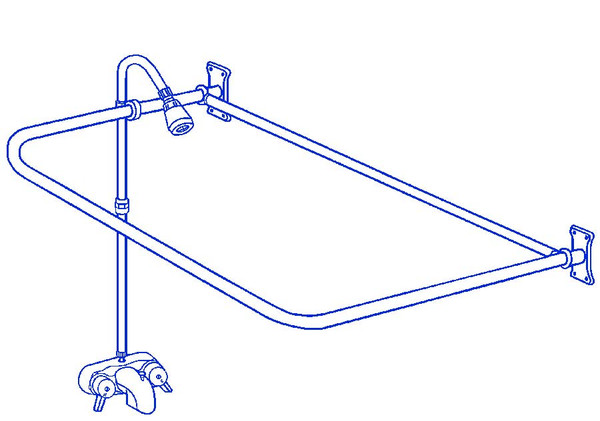 "Clawfoot Tub Add On Shower Includes 54"" D-Shower Rod RX2300A"