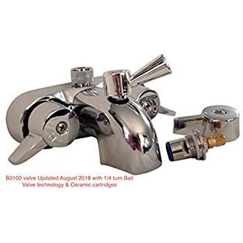 "Heavy Duty B3100 3 3/8"" Centers Clawfoot Tub Faucet with Ceramic Cartridges & NEW 1/4 turn Ball Valve Diverter by My PlumbingStuff"