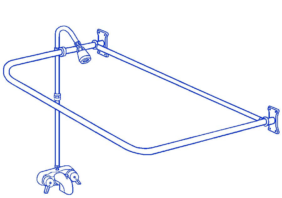 "Brass Clawfoot Tub Add On Shower Includes 54"" D-Shower Rod RX2300B"