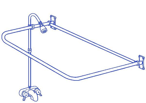 "Brass Clawfoot Tub Add On Shower Includes 54"" D-Shower Rod RX2300B"