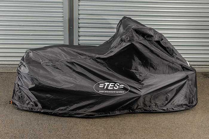 Side view of TES Covers fully enclosed cover