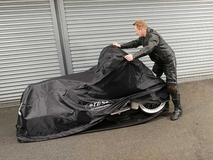 TES Cover enclosed motorcycle cover step 5