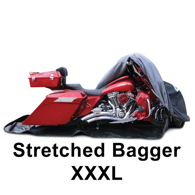 "Stretched Bagger cover  fits up to a 32"" front wheel and 16"" longer bags. Tour pack fits as well."