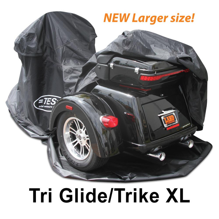 "The new TES Trike XL is made to fit aftermarket conversion trikes that net out to be larger than the ""Harley Davidson TriGlide""."
