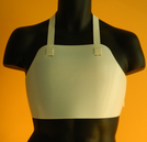Men's/Children's Chest Protector, A single piece of hard plastic that covers an area between the clavicle and sternum.  Mandatory for females in competition and recommended for males. Front view