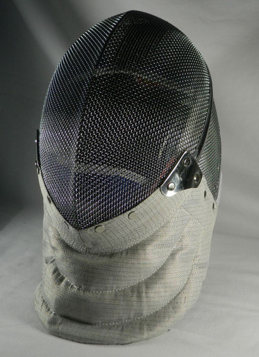 Side View-Saber Mask with a washable, removable inner lining. CE protection level, 800 Newton Protection for Mesh, 350 Newton Protection for Bib. Excellent mask for Beginning / Intermediate fencer for training and local tournaments.  Washing Instruction:  For best results, let lining soak in water with a gentle detergent for a short period of time and let air dry. We do not recommend putting it in the washing machine or dryer.