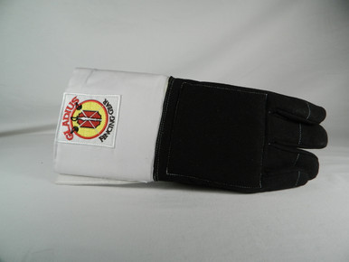 3 Weapon Glove- Black.   These gloves may also be used with a cuff over the sleeve for Saber.
