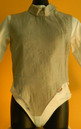 """Front view. Children's Lame is part of the exterior portion of the gear.  It is made with a electrically conductive nickel coded cooper material, manufactured with a nylon insulated lining, sturdy zipper and velcro neck flap for easy adjustment. The lame define the target area for the electrical scoring equipment to determine validity of the """"hit."""""""
