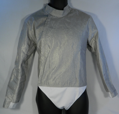 """Front view. Men's Lame is part of the exterior portion of the gear.  It is made with a electrically conductive nickel coded cooper material, manufactured with a nylon insulated lining, sturdy zipper and velcro neck flap for easy adjustment. The lame define the target area for the electrical scoring equipment to determine validity of the """"hit."""""""