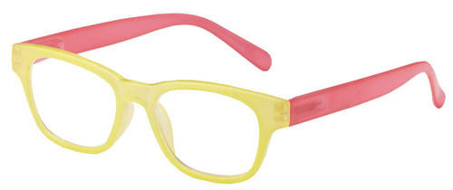 Sorbet Yellow/pink plastic frame reading glasses low power .75