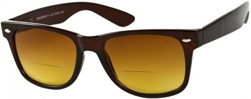 Wayfarer Bifocal Style  Sun Reading Glasses / Amber