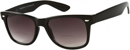 Wayfarer Bifocal Style  Sun Reading Glasses / Smoke