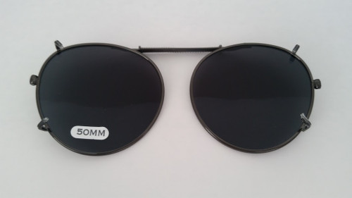 round clip on sunglasses polarized smoke 50mm
