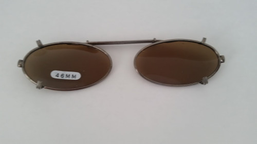 small elongated oval clip on sunglasses amber 46mm