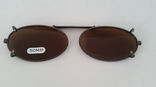 small elongated oval clip-on sunglasses amber 50mm