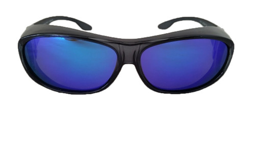 polarized fit over sunglasses black/blue mirrored lenses