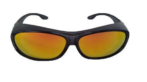 polarized fit over sunglasses black/gold mirrored lenses