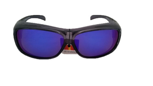 polarized blue mirror fit over sunglasses translucent smoke frame