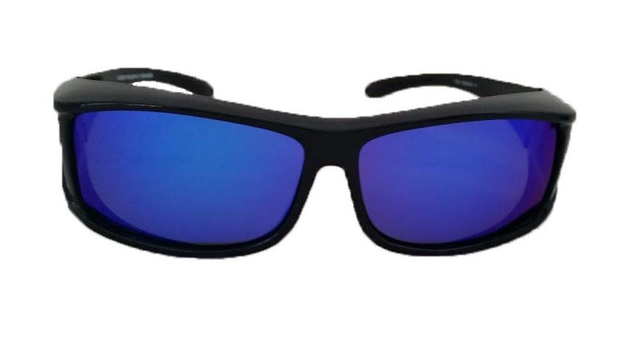 8df8e29fd07d Over Glasses Polarized Sunglasses Blue Mirrored Lenses (Rectangular ...