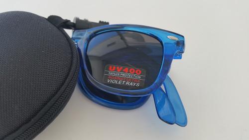 folding wayfarer style sunglasses/blue BLUE