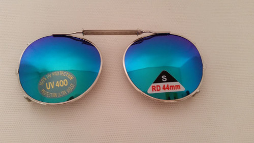 round adjustable mirrored lenses clip on 044mm SILVER/BLUE LENS
