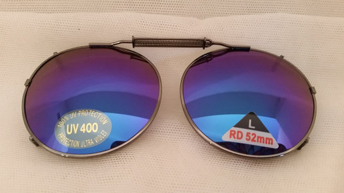 GUNMETAL/BLUE blue mirrored clip on sunglasses 52mm