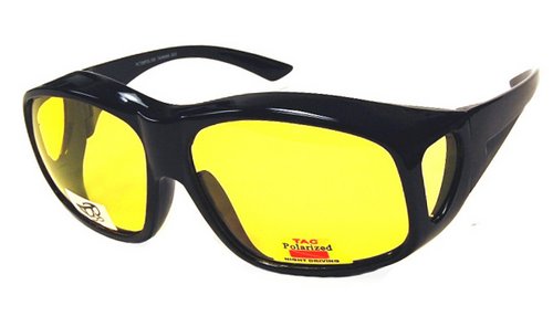 Fit Over Sunglasses yellow Night Driver XXL BLACK