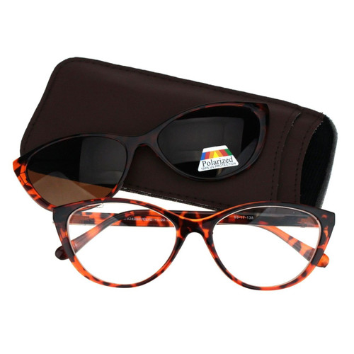 cats eye bifocal with magnetic polarized clip on sunglasses