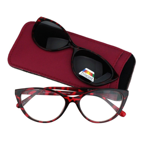 cat eye bifocal with magnetic polarized clip ons red tortoise